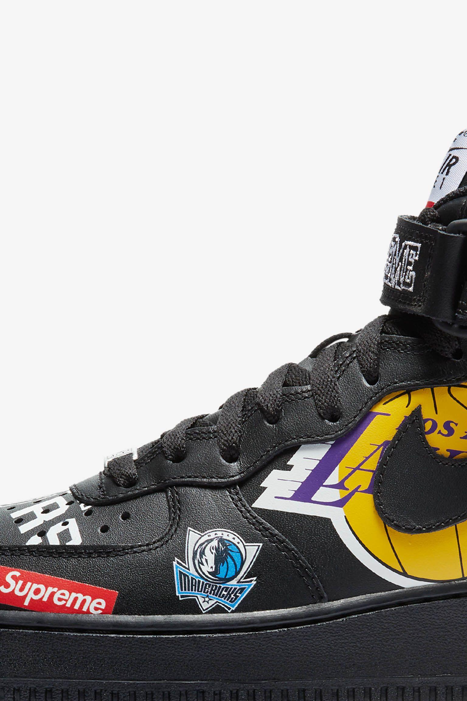 Nike Air Force 1 Mid Supreme NBA 'Black' Release Date