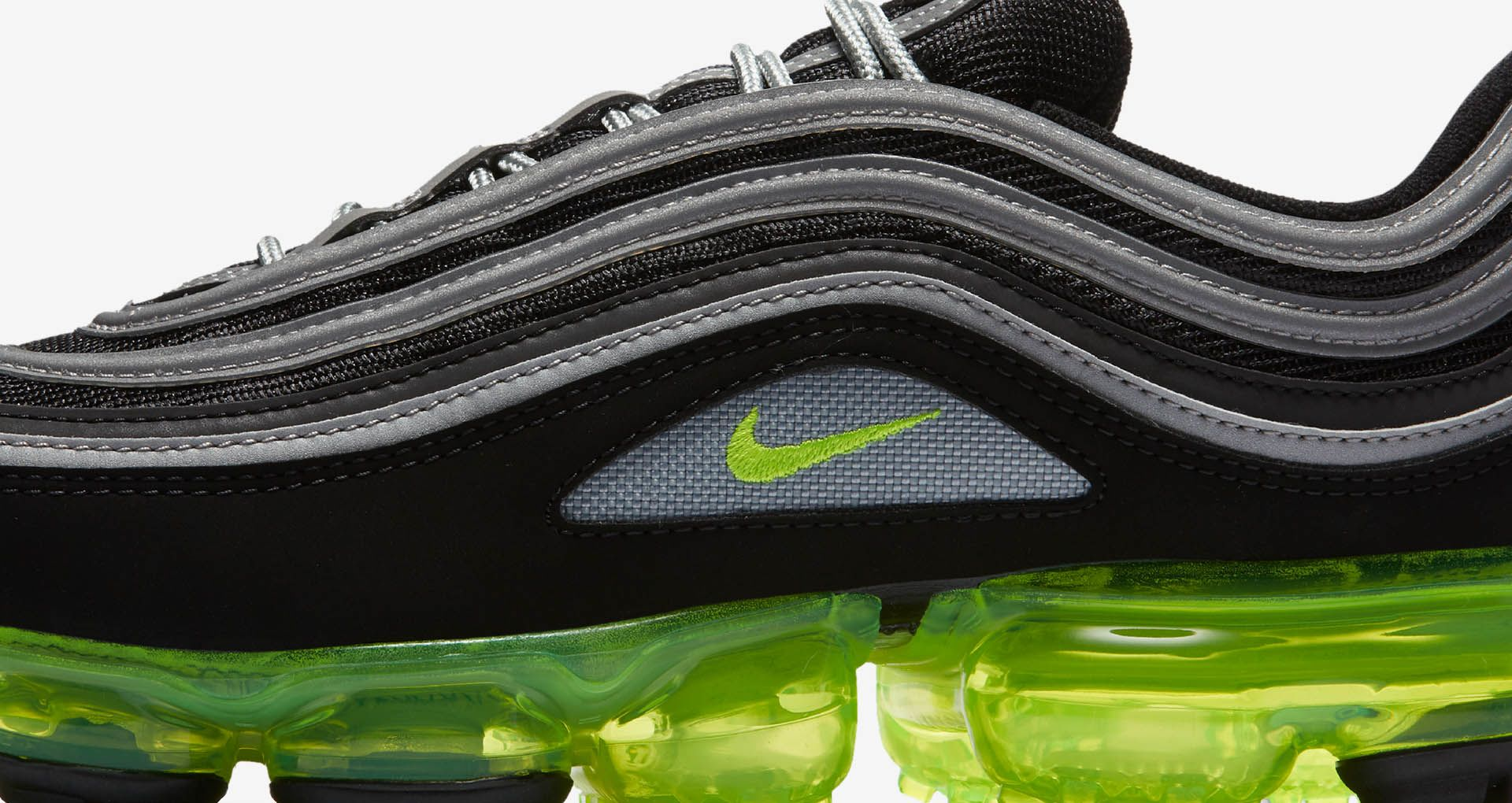 best loved b93a6 95a80 Nike Air Vapormax 97 'Black & Volt & Metallic Silver ...