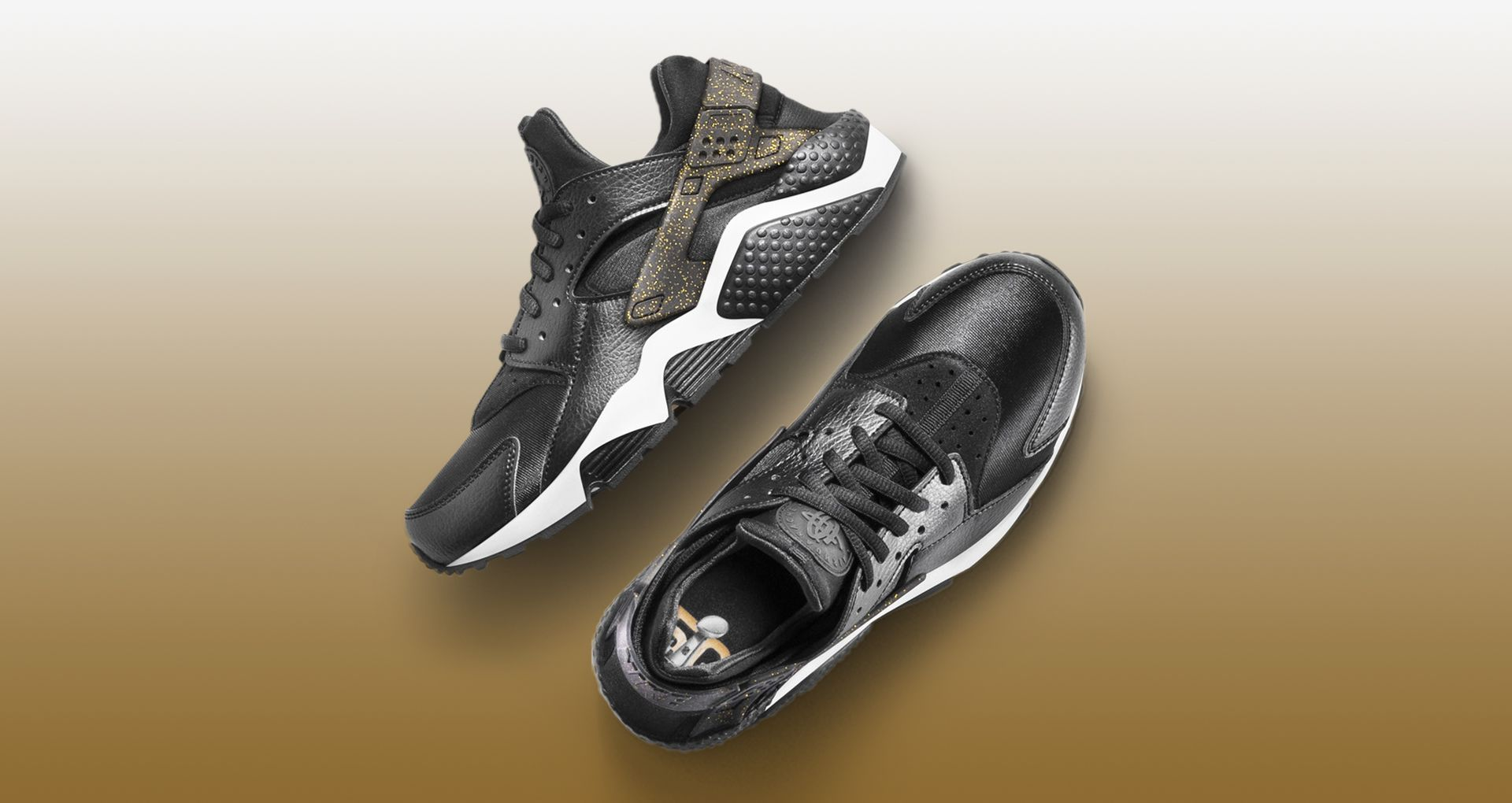 9c435ea13716 Women s Nike SB50 Air Huarache Run  Black   Gold . Nike+ SNKRS