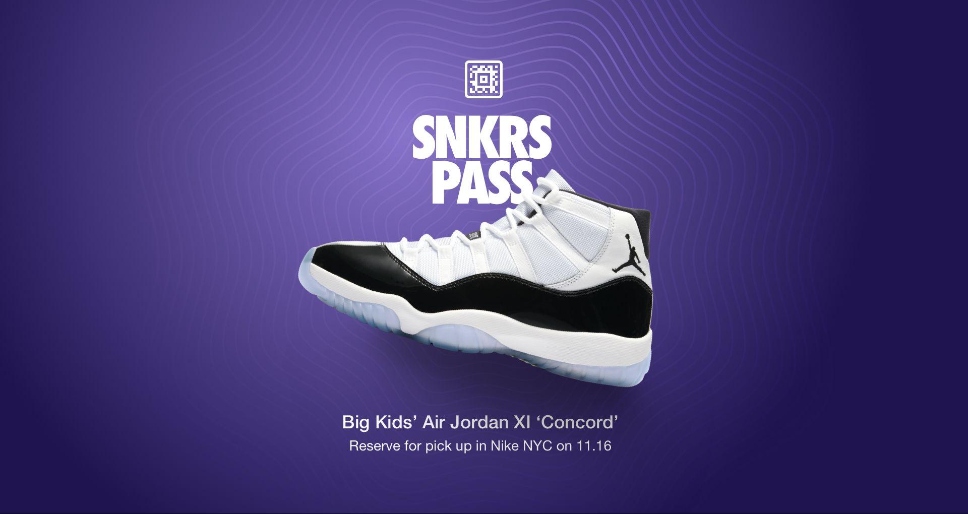 promo code 1d0cf 90dfc Big Kids' Air Jordan 11 'Concord' SNKRS Pass Nike NYC. Nike ...