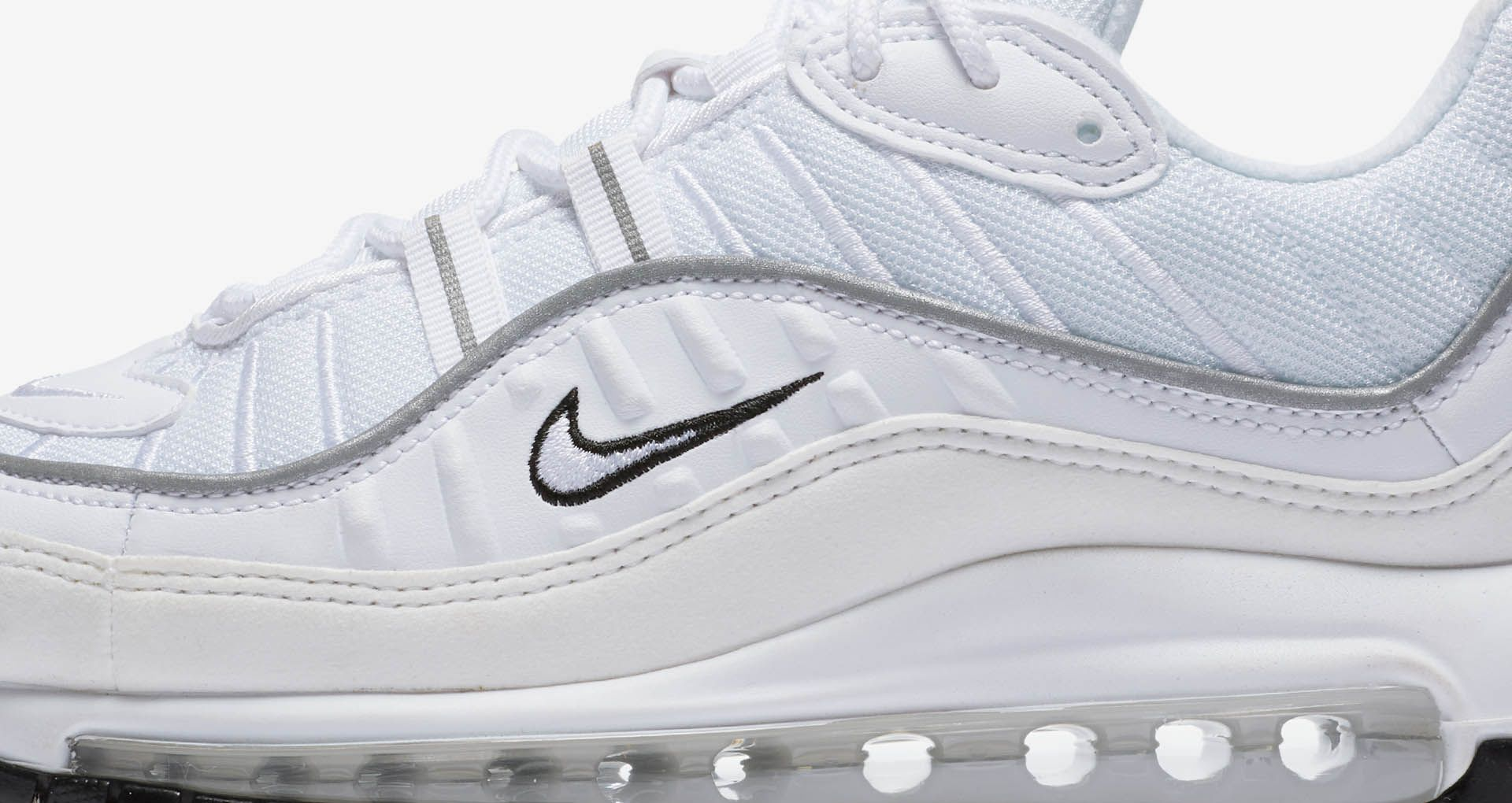 pretty nice 5becb 7f60c Nike Women's Air Max 98 'White & Reflective Silver' Release ...
