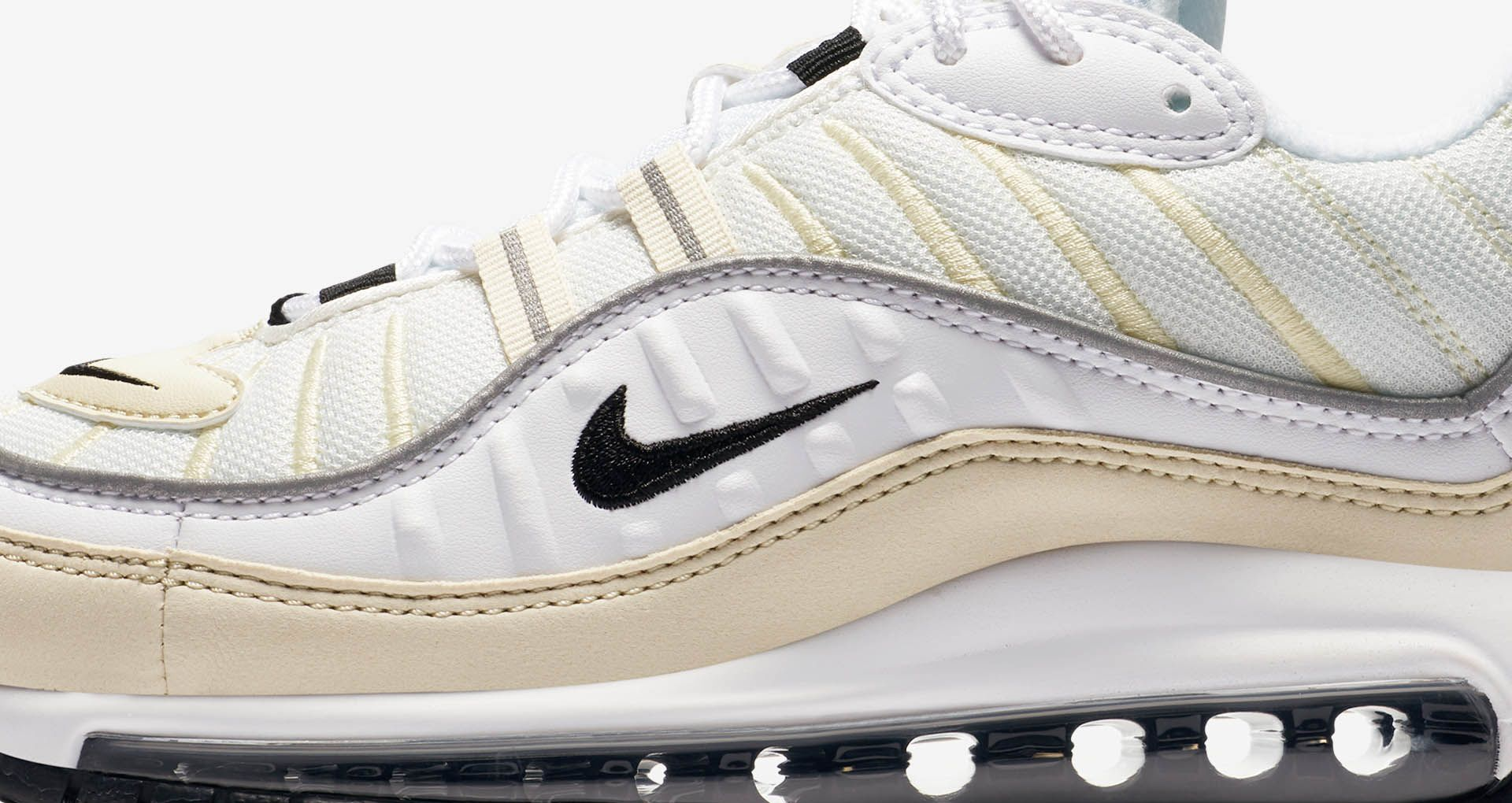 timeless design 113e7 d0ee0 Nike Women's Air Max 98 'White & Black & Fossil' Release ...