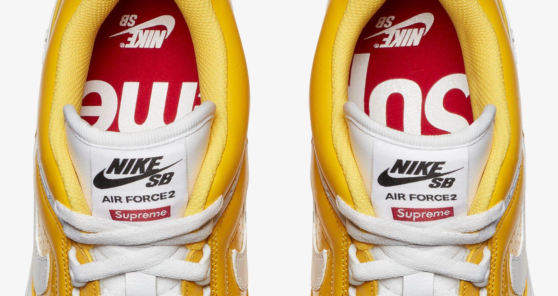 d354aa5f76a3 Nike SB AF2 Low Supreme  Varsity Maize . Nike+ SNKRS
