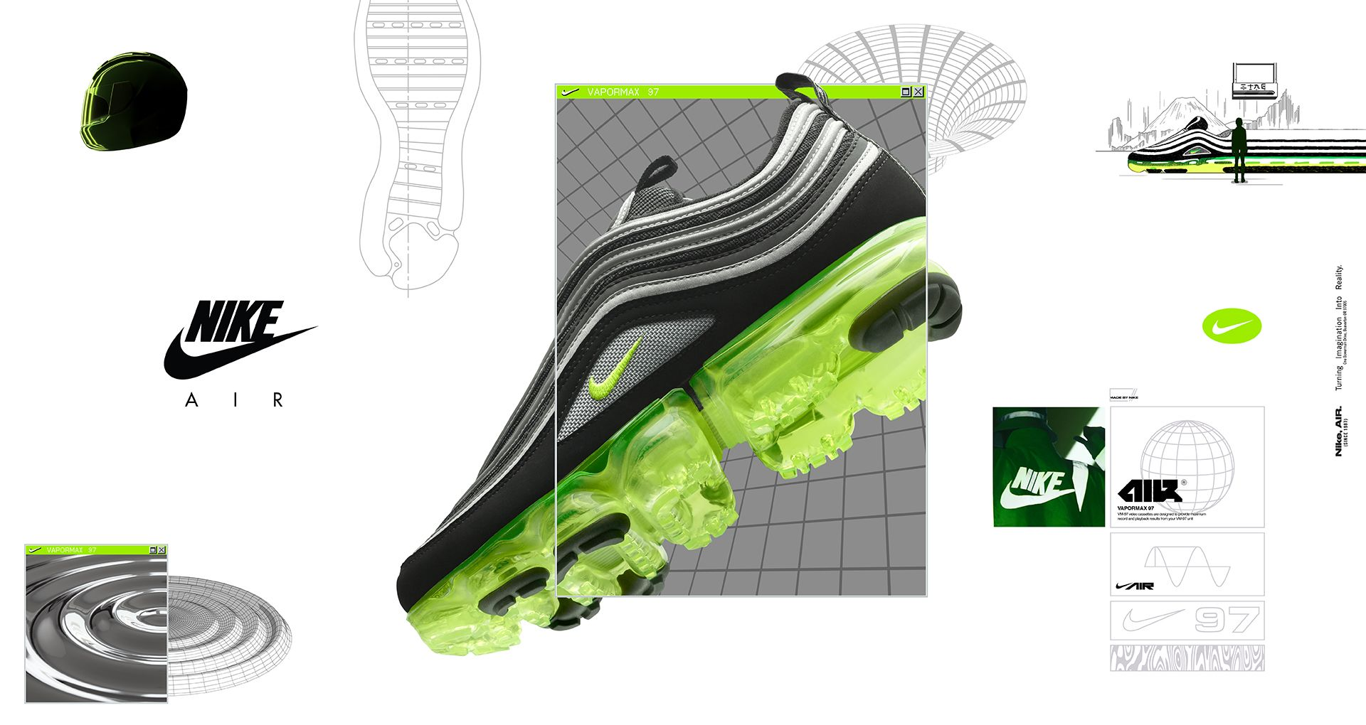 new style f7c0a 22cf7 Nike Air Vapormax 97 'Black & Volt & Metallic Silver ...