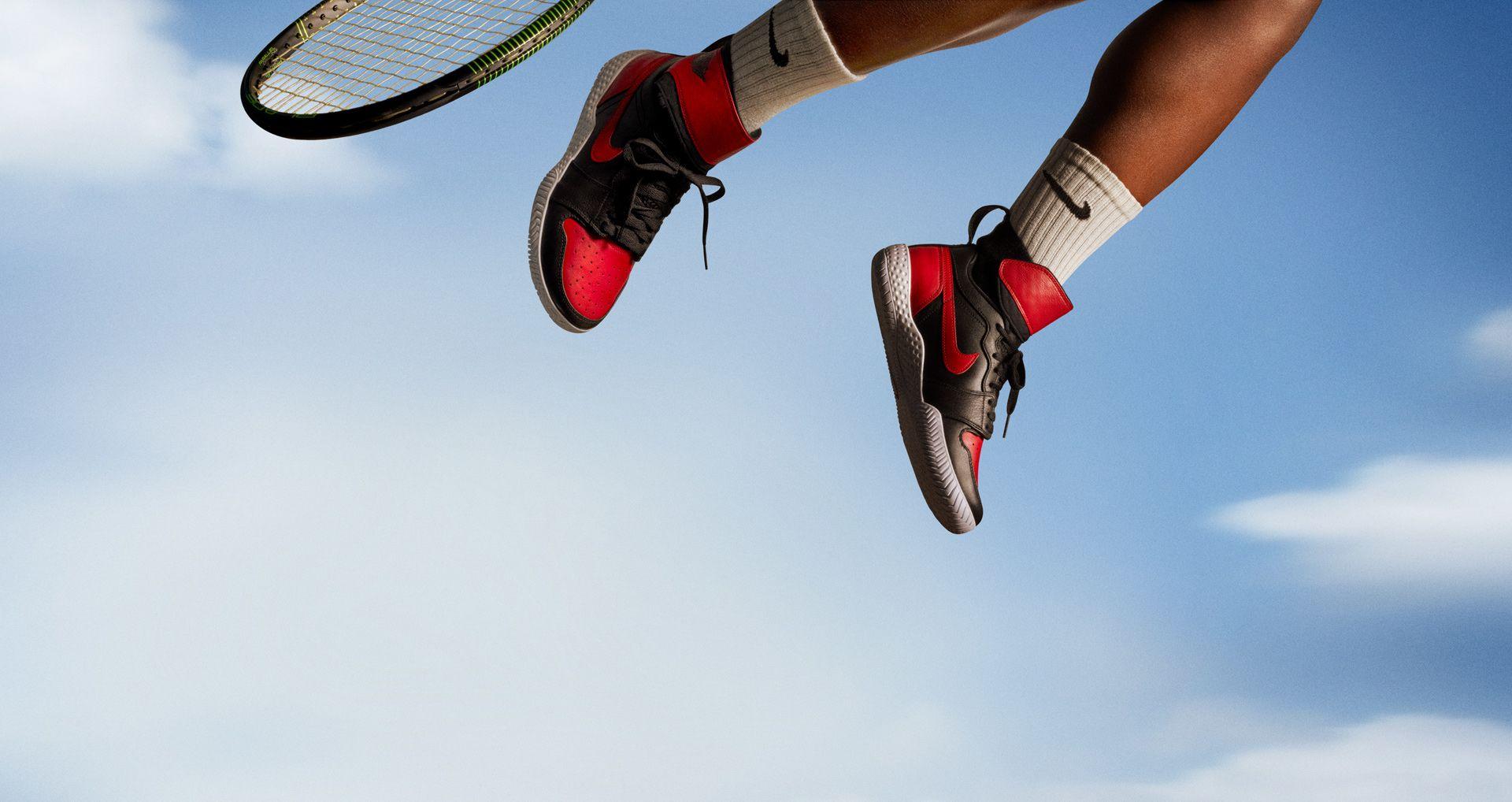 438e274042f0e Women s NikeCourt Flare AJ1  Black   Varsity Red . Nike+ SNKRS