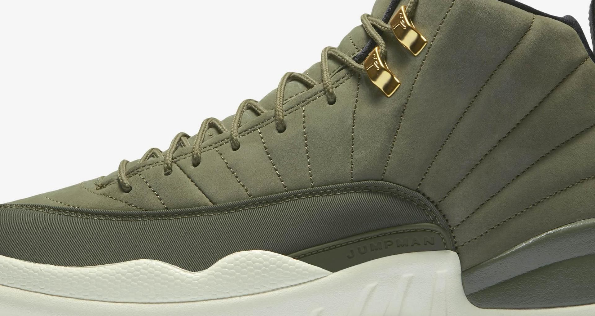 best sneakers 109a7 1ab8f Air Jordan 12 Retro 'Olive Canvas & Metallic Gold' Release ...