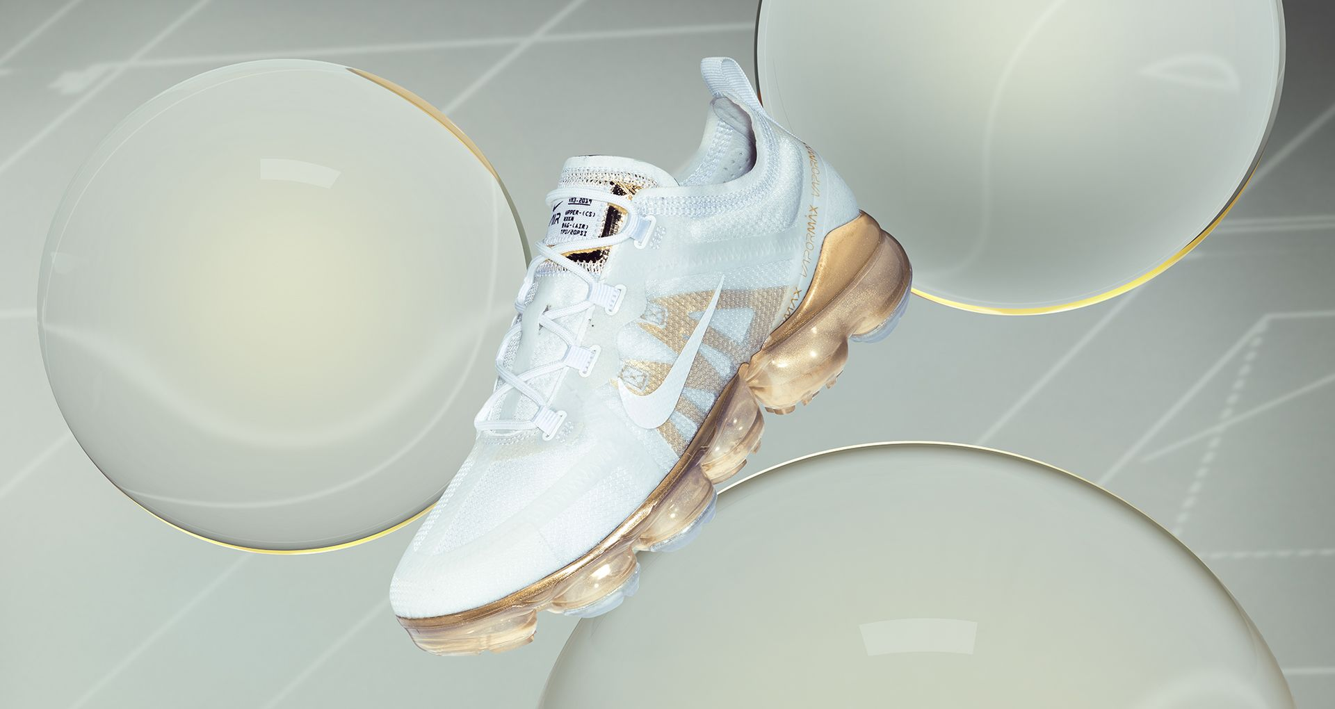 Women\u0027s Nike Air Vapormax 2019 \u0027White \u0026 Metallic Gold