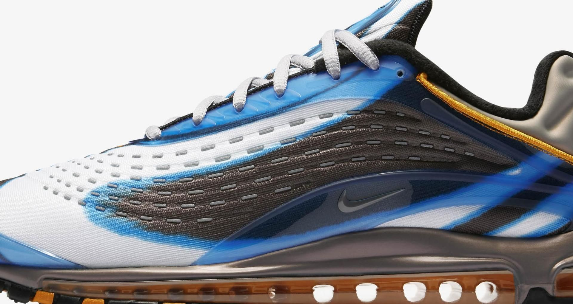 7627a69ae61f Nike Air Max Deluxe  Photo Blue   Wolf Grey   Orange Peel  Release ...