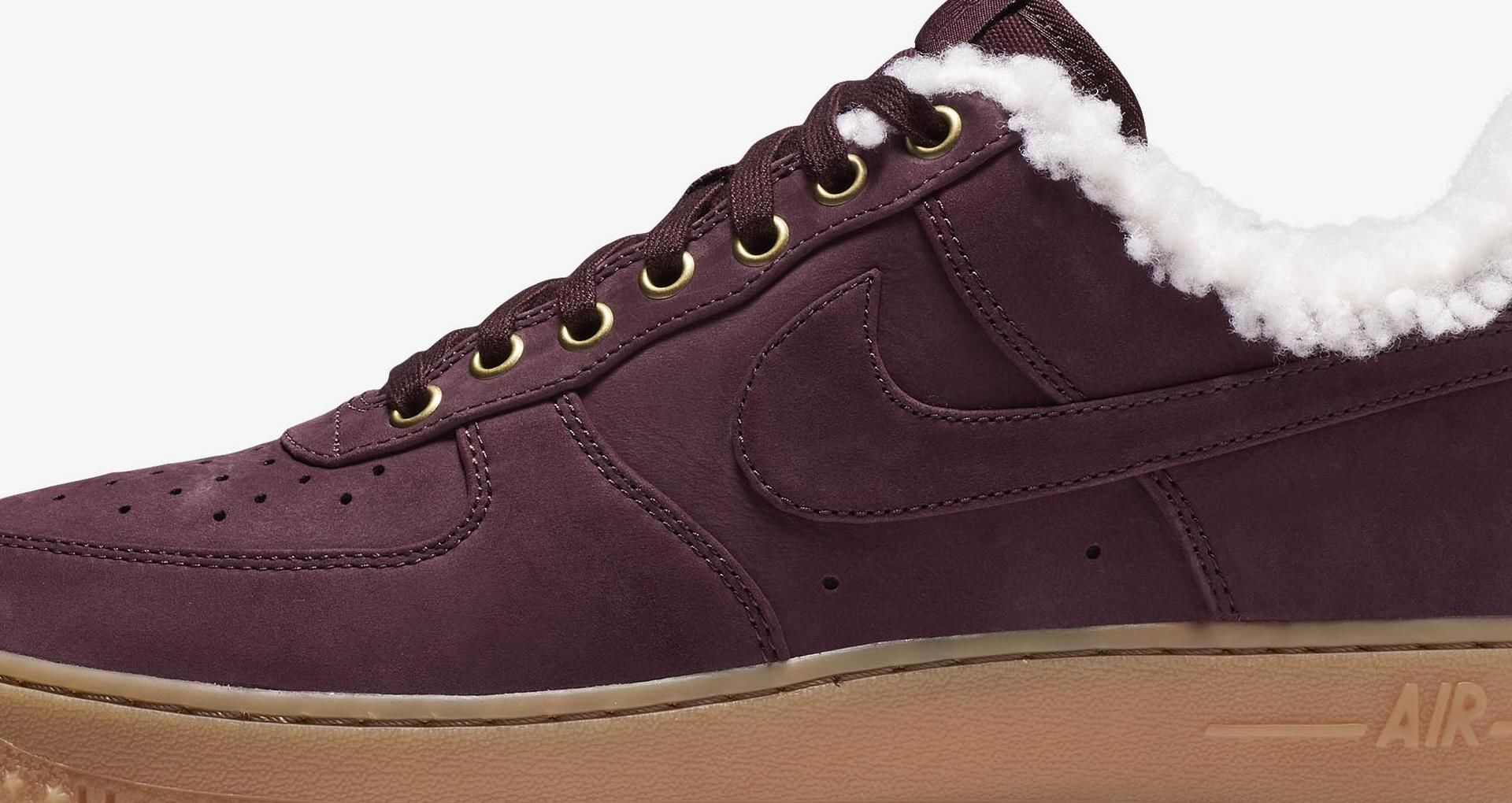 526bcd571cbed9 Nike Air Force 1 Premium Winter  Burgundy Crush   Gum Light Brown  ...
