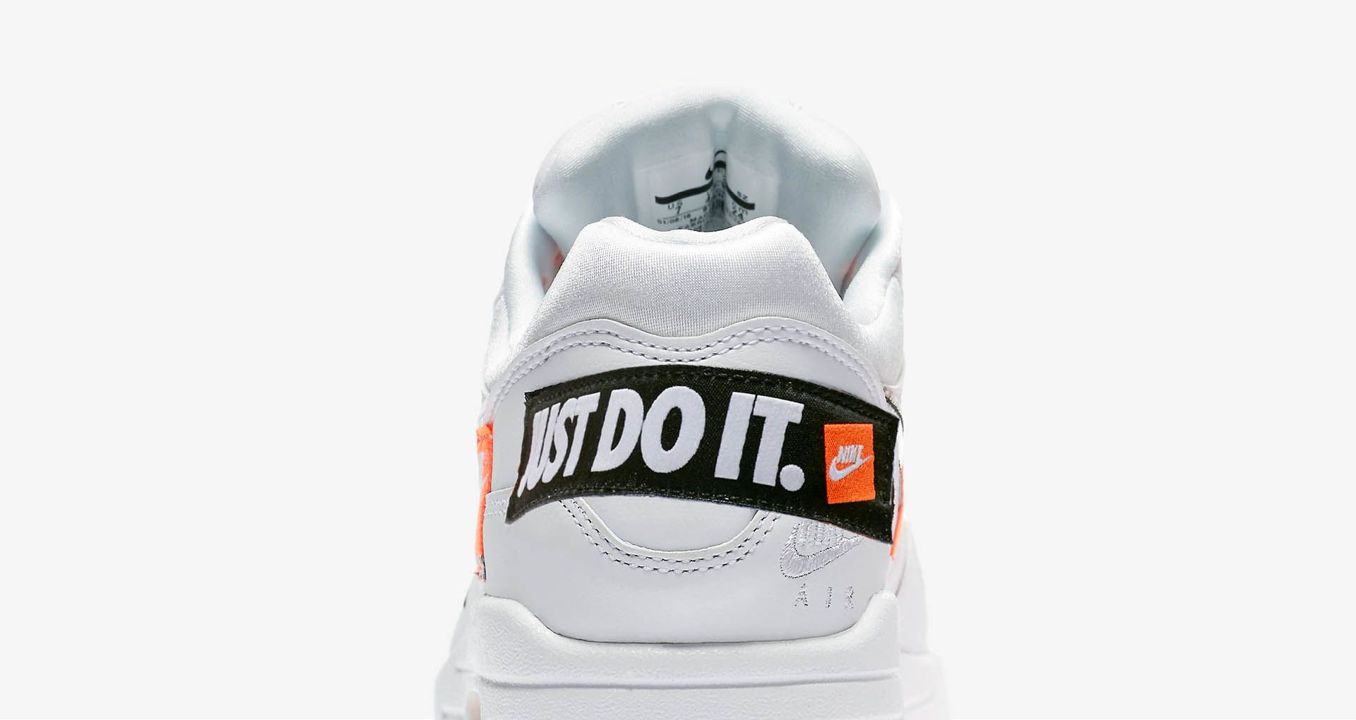 best loved 19dc3 10e86 Nike Air Max 1 Just Do It Collection  White   Total Orange  ...