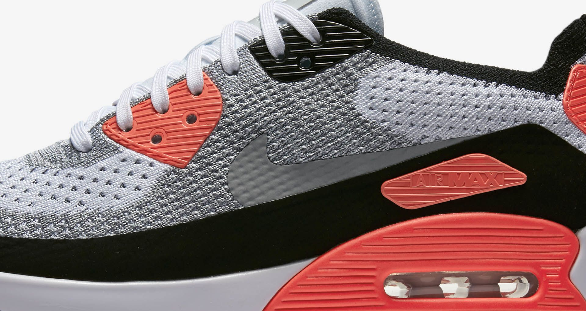 26831e038a54 Nike Air Max 90 Ultra 2.0 Flyknit  White  amp  Bright Crimson  voor ...