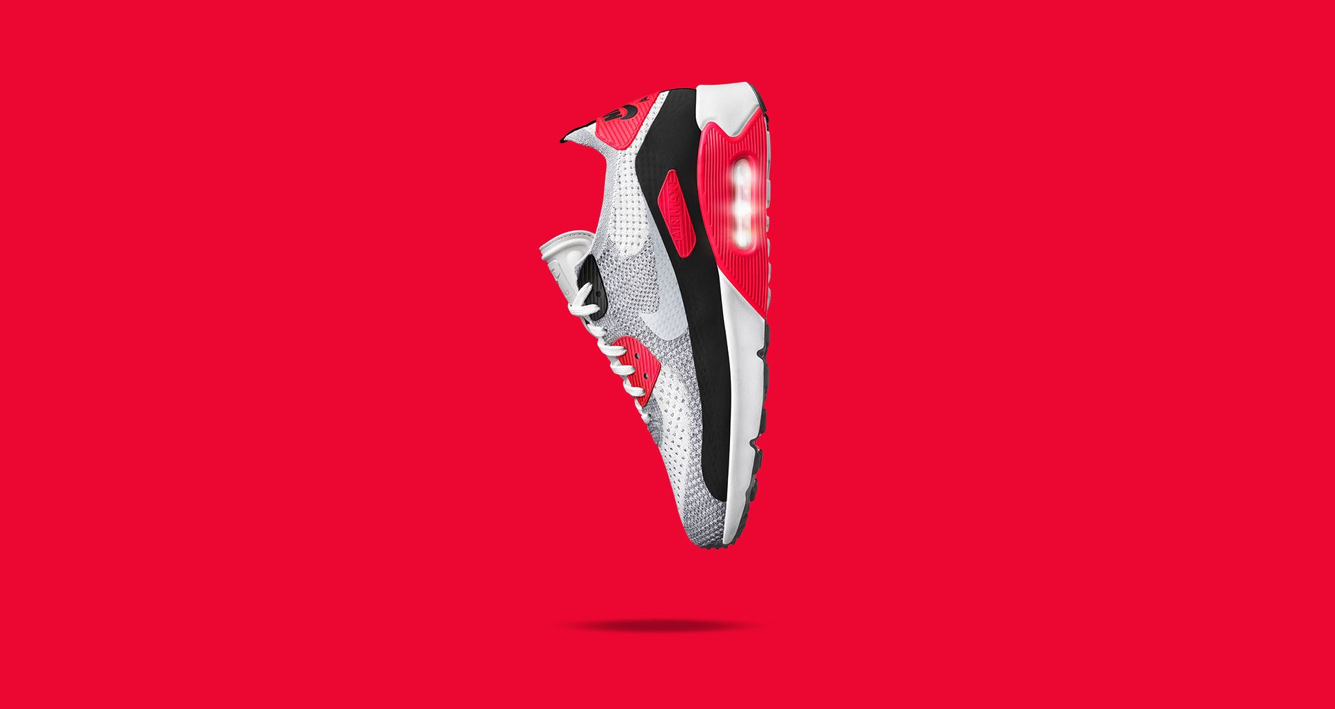 Nike Air Max 90 Ultra 2.0 Flyknit Bright Crimson Sneakers