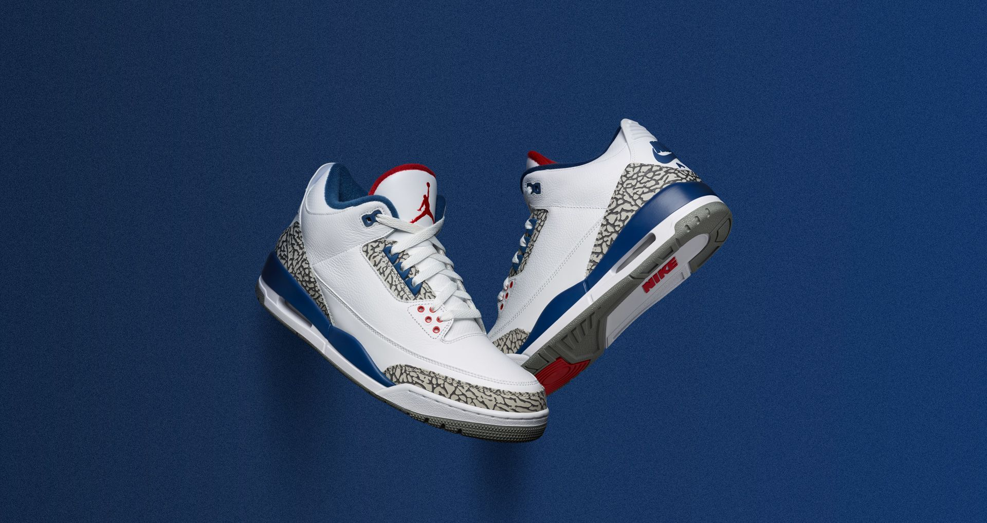on sale b4e60 08fd4 Air Jordan 3 Retro OG 'White & Cement Grey & Blue'. Nike⁠+ SNKRS