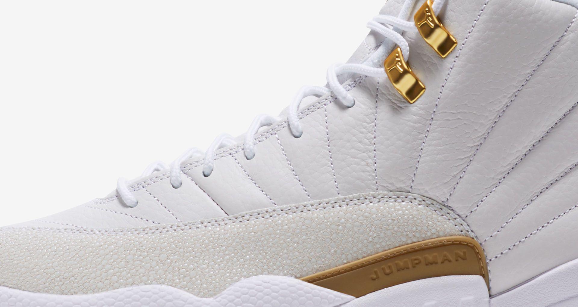 newest 77273 43a00 Air Jordan 12 OVO  White   Metallic Gold  ...