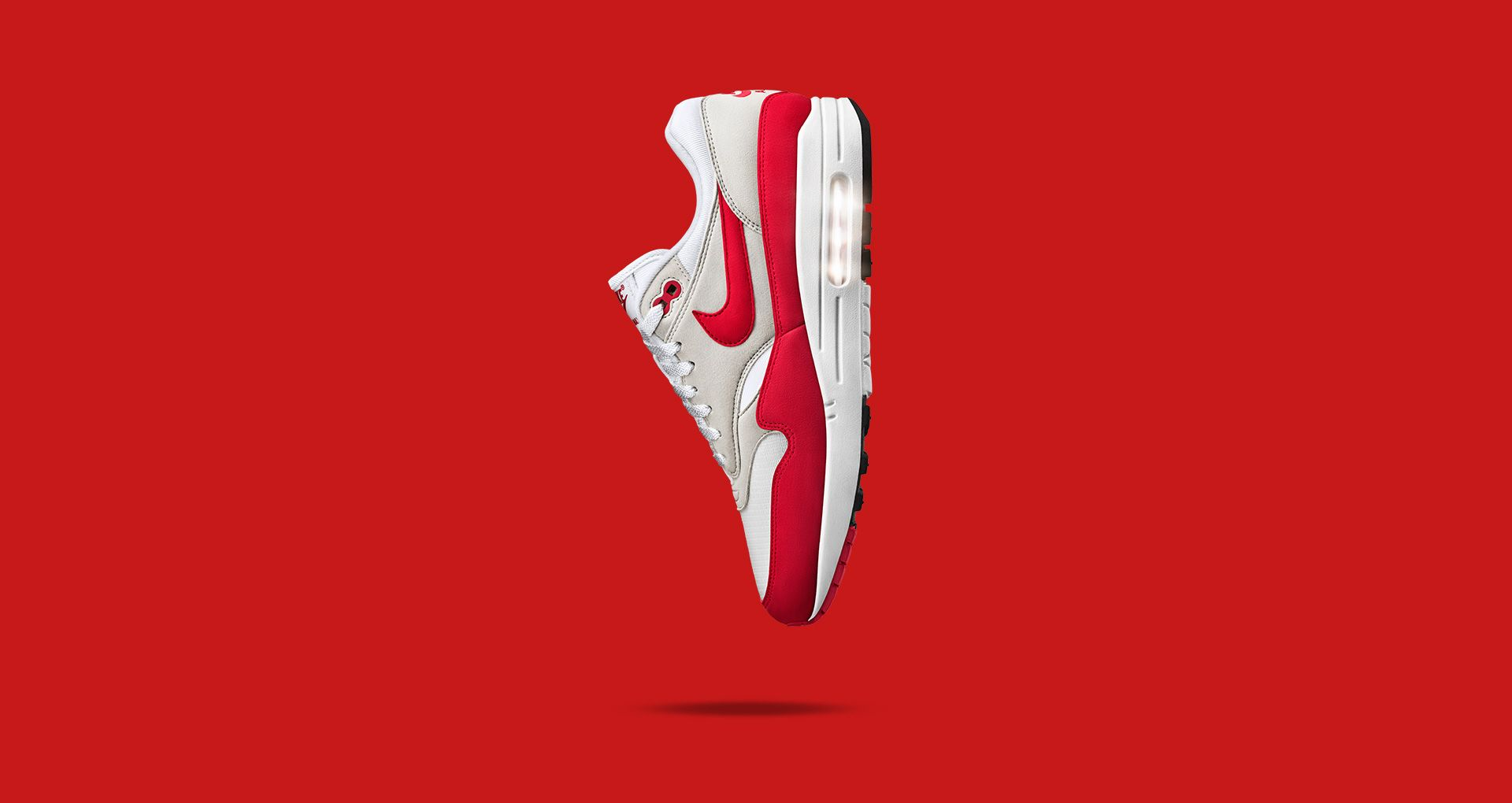 buy popular cf320 2fda6 Nike Air Max 1 Anniversary  White   University Red . Nike⁠+ SNKRS