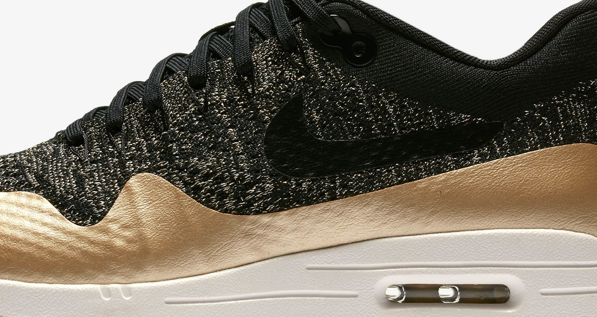 4a83c8c35c Women's Nike Air Max 1 Ultra 2.0 Flyknit Metallic 'Black & Metallic Gold'