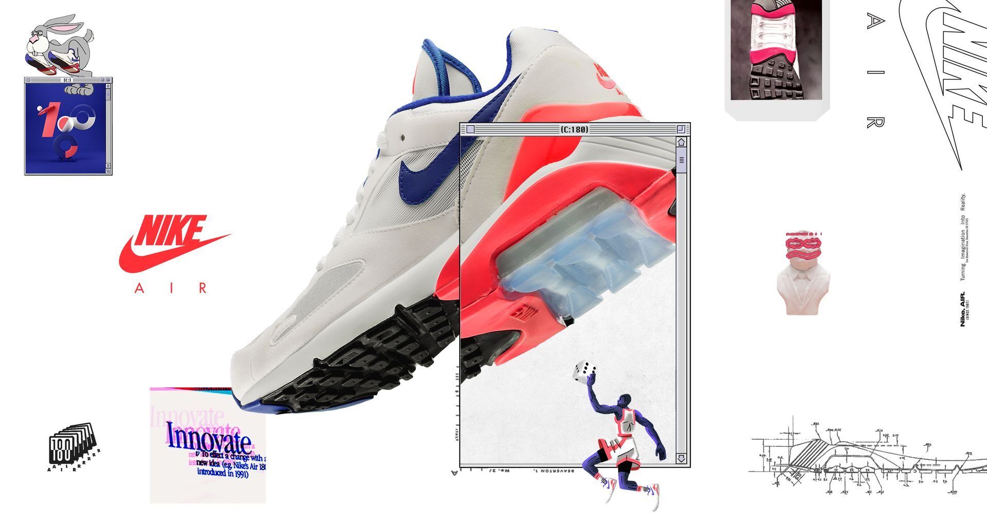 Air Max 180 'White & Ultramarine & Solar Red' Release Date