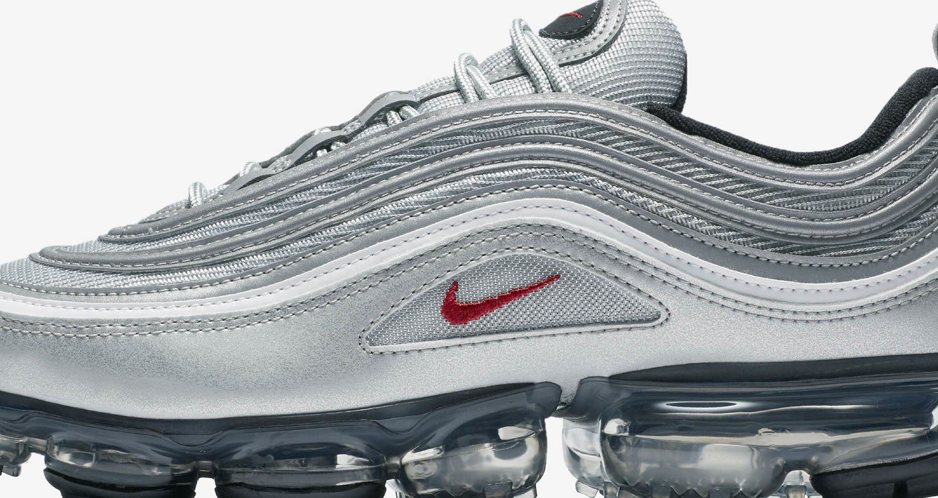 outlet store f6851 41a9b Nike Air Vapormax 97 'Metallic Silver & Varsity Red' Release ...