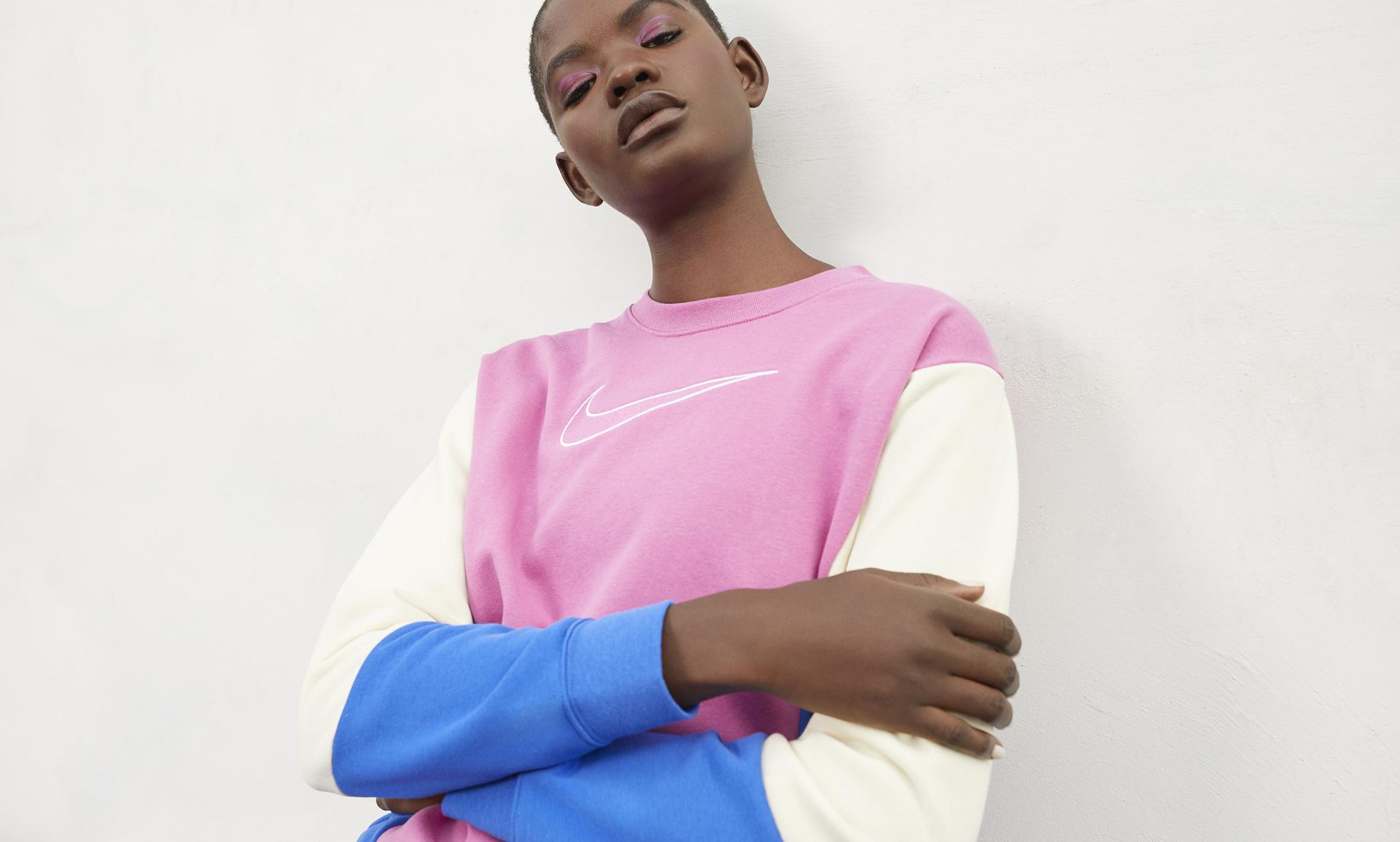 Nike Air Crew Pullover für Damen blackwhitedark grey heather CK1402 010