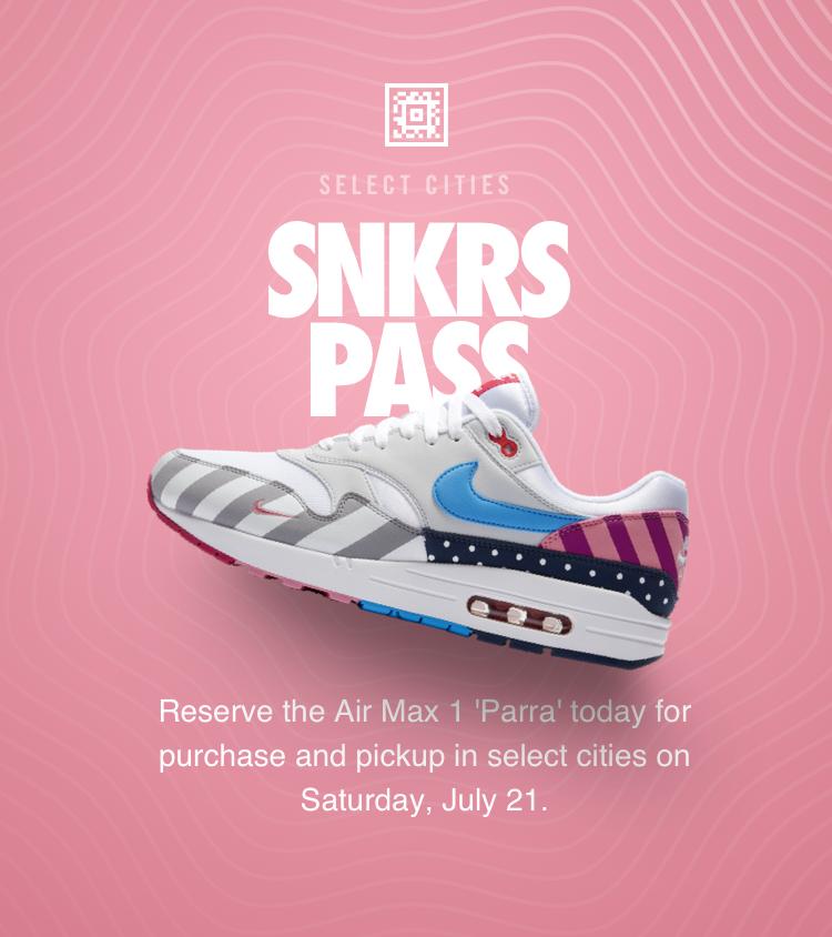 Nike Air Max 1 'Parra' SNKRS Pass