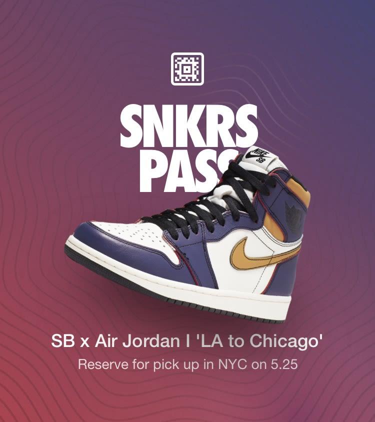 super popular 4ecc1 e99b2 SNKRS Pass  SB x Air Jordan 1  LA to Chicago  NYC
