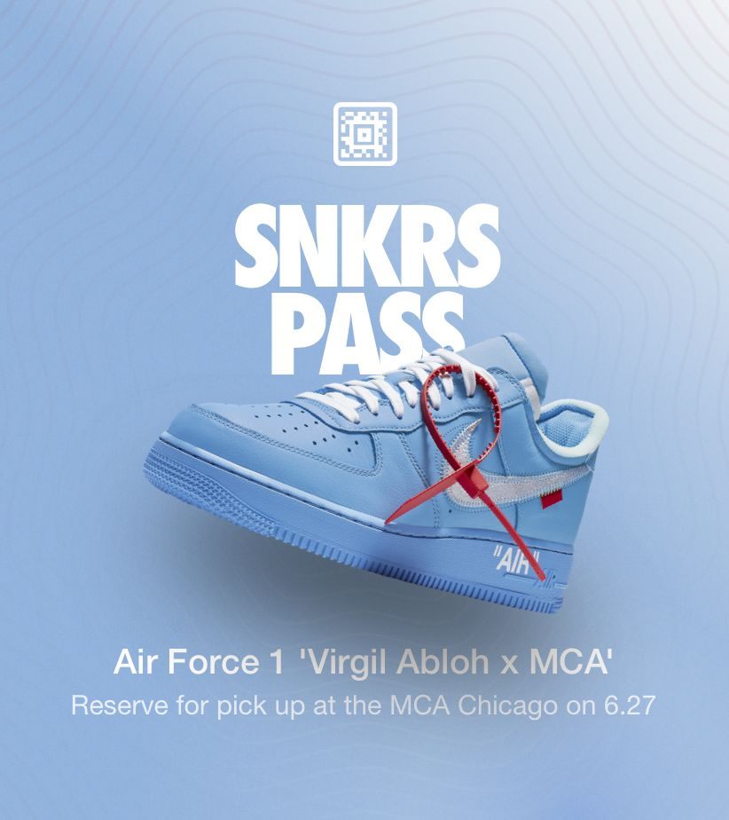 SNKRS Pass: Air Force 1 'Virgil Abloh x MCA'  Nike⁠+ SNKRS