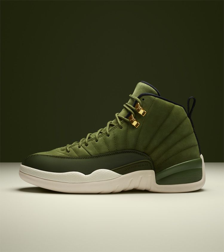 best service 57107 f03a1 Air Jordan 12 Retro 'Olive Canvas & Metallic Gold ...
