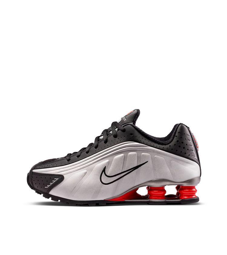 3e99b91cdfa7 Nike Shox R4  Black   Metallic Silver   Max Orange  ...