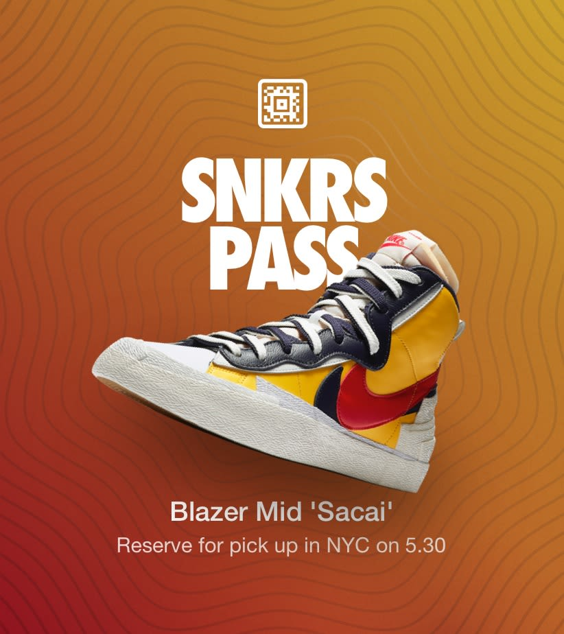 Blazer Mid 'Sacai' NYC. Nike SNKRS