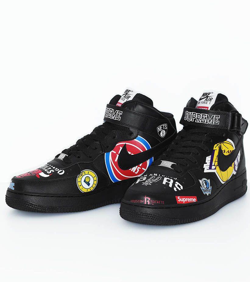 Nike Air Force 1 Mid Supreme NBA 'Black