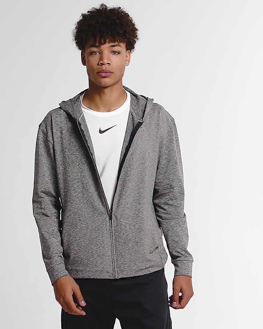 Nike Dri FIT Yoga Trainings Hoodie mit durchgehendem Reißverschluss für Herren