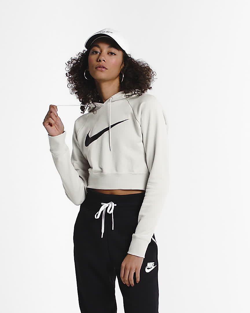938028286 Nike Sportswear Swoosh Women's Cropped French Terry Hoodie. Nike.com AU